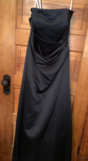 David's Bridal Black Satin Gown Formal Bridesmaid/Mob Dress Size 12 (L) Image 1