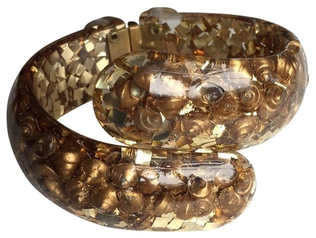 Vintage Lucite 1960's Hinged Bangle with Gold Shells and Gold Confetti Bracelet Vintage Lucite 1960's Hinged Bangle with Gold Shells and Gold Confetti Bracelet Image 1
