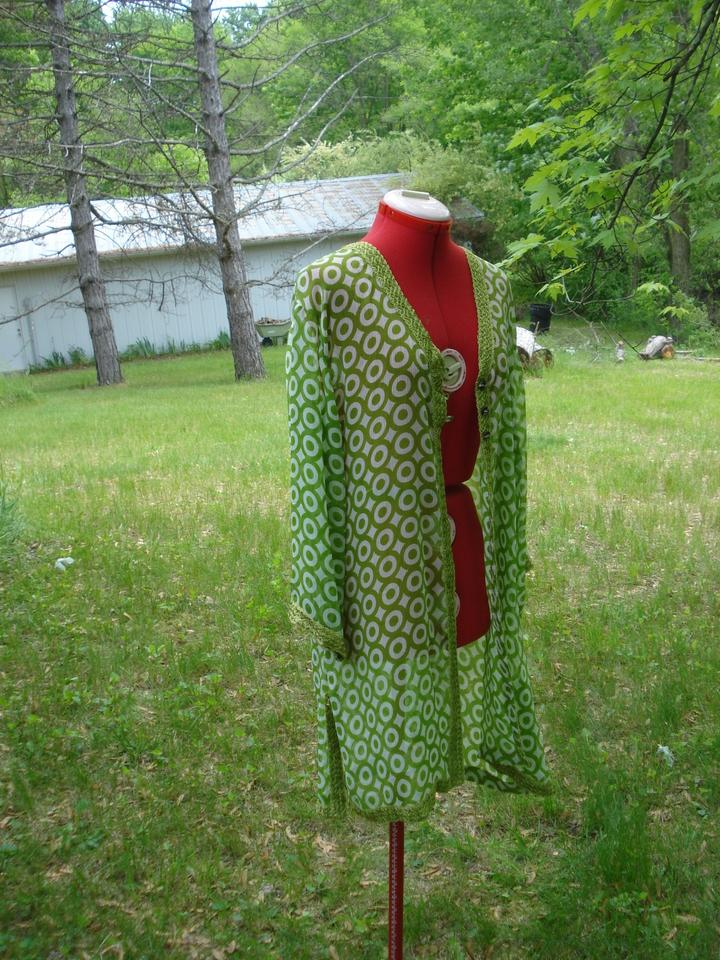 691e2f2ab1 India Boutique Green and White Semi Sheer Embroidered Duster Cover ...