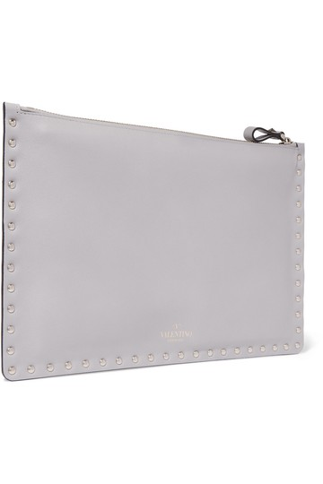 Valentino Pouch New Studded light gray Clutch Image 3