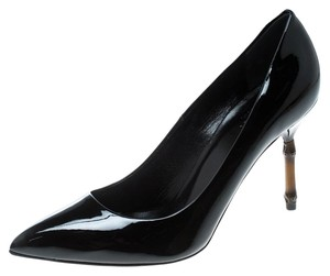 Gucci Patent Leather Bamboo Pointed Toe Black Pumps