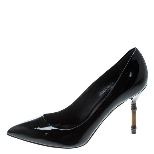 Gucci Patent Leather Bamboo Pointed Toe Black Pumps Image 1
