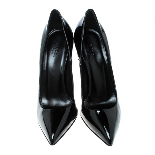 Gucci Patent Leather Bamboo Pointed Toe Black Pumps Image 2