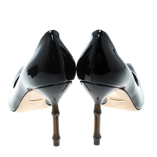 Gucci Patent Leather Bamboo Pointed Toe Black Pumps Image 3
