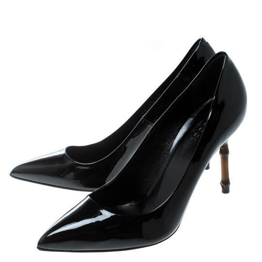 Gucci Patent Leather Bamboo Pointed Toe Black Pumps Image 4