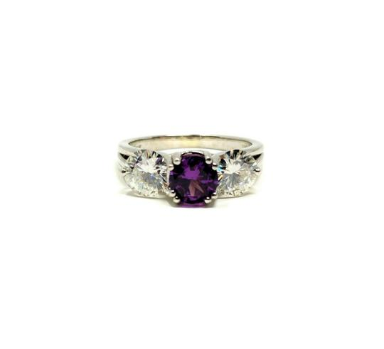 Other 14k Gold Custom 1ct Purple Sapphire and Two 1ct Moissanite Ring Size 9 Image 0