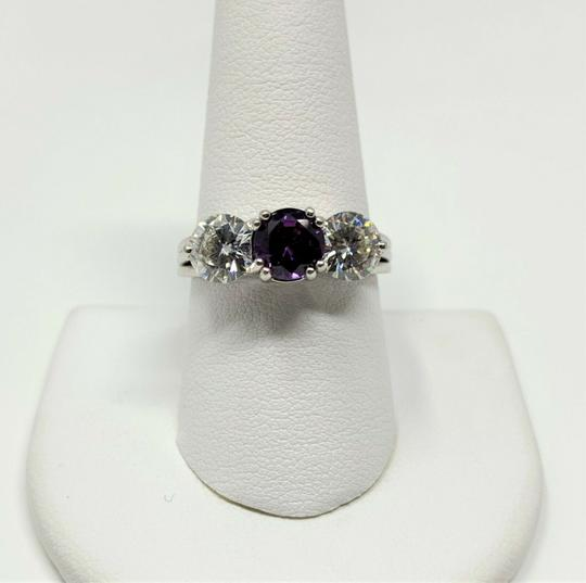 Other 14k Gold Custom 1ct Purple Sapphire and Two 1ct Moissanite Ring Size 9 Image 5