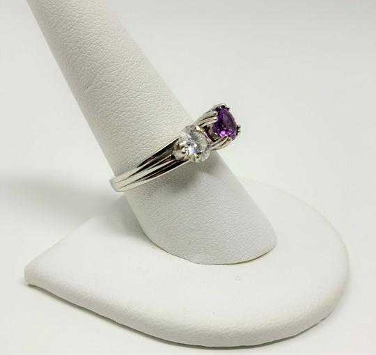 Other 14k Gold Custom 1ct Purple Sapphire and Two 1ct Moissanite Ring Size 9 Image 6