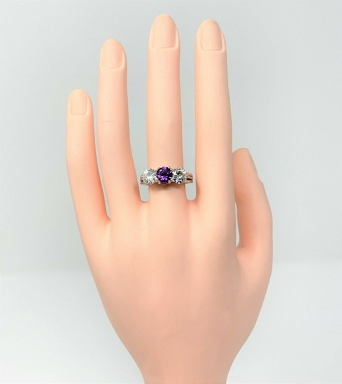 Other 14k Gold Custom 1ct Purple Sapphire and Two 1ct Moissanite Ring Size 9 Image 7