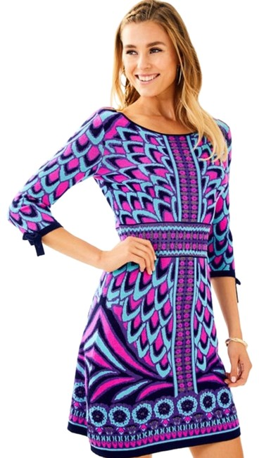 Preload https://img-static.tradesy.com/item/25489460/lilly-pulitzer-blue-pink-and-purple-escala-sweater-short-night-out-dress-size-12-l-0-1-650-650.jpg