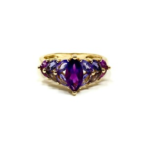 Other 14k Yellow Gold Marquise Cut Amethyst and Iolite Ring Size 8