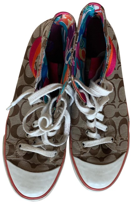 Item - Tan and Multicolor Patchwork Like New Logo Sneakers Size US 9 Regular (M, B)