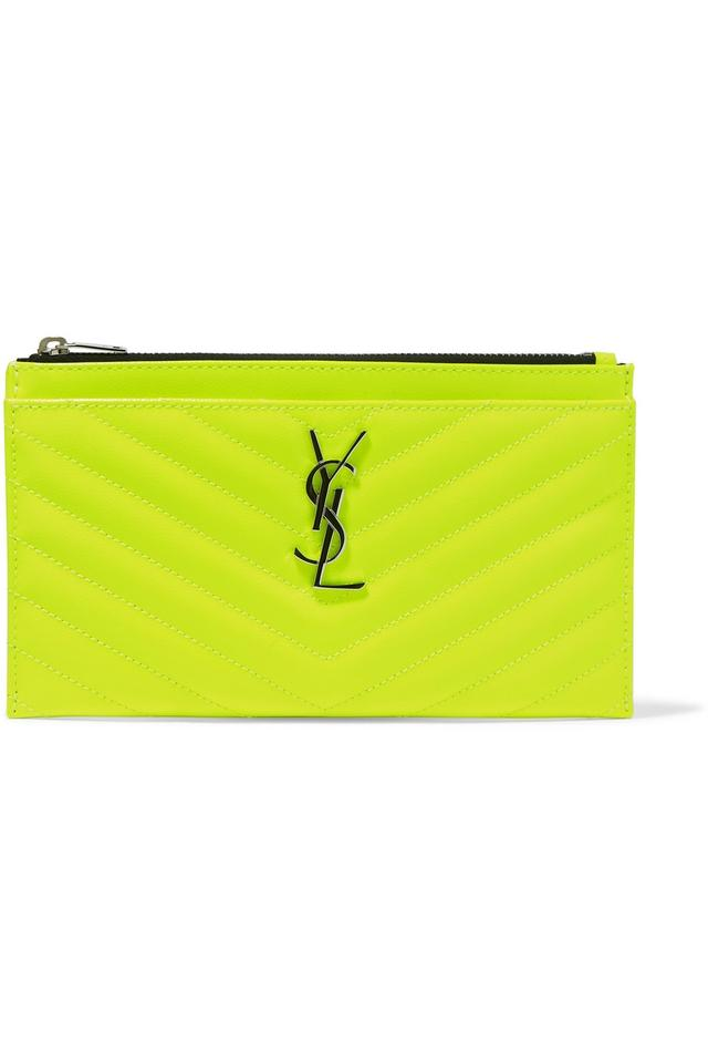 6561f222f2 Saint Laurent Monogram Quilted Leather Neon Pouch Clutch - Tradesy