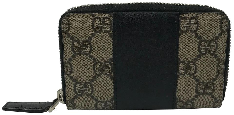 purchase cheap cf446 89076 Gucci Beige/Ebony Gg Supreme Zip Card Case Wallet 36% off retail