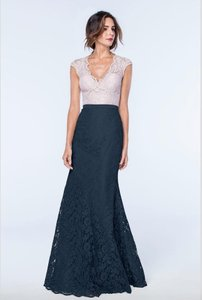 Watters & Watters Bridal Indigo Aria Lace 80204 Modest Bridesmaid/Mob Dress Size 10 (M)
