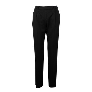 Valentino Wool Pleated Fleece Jetted Pockets Straight Pants Black