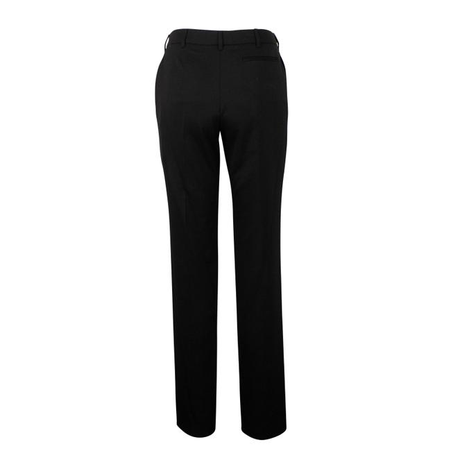 Valentino Wool Pleated Fleece Jetted Pockets Straight Pants Black Image 1