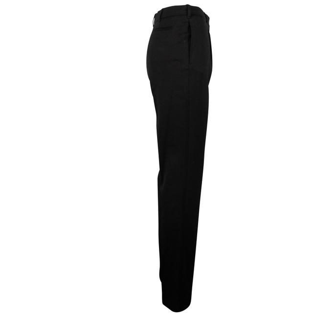 Valentino Wool Pleated Fleece Jetted Pockets Straight Pants Black Image 2