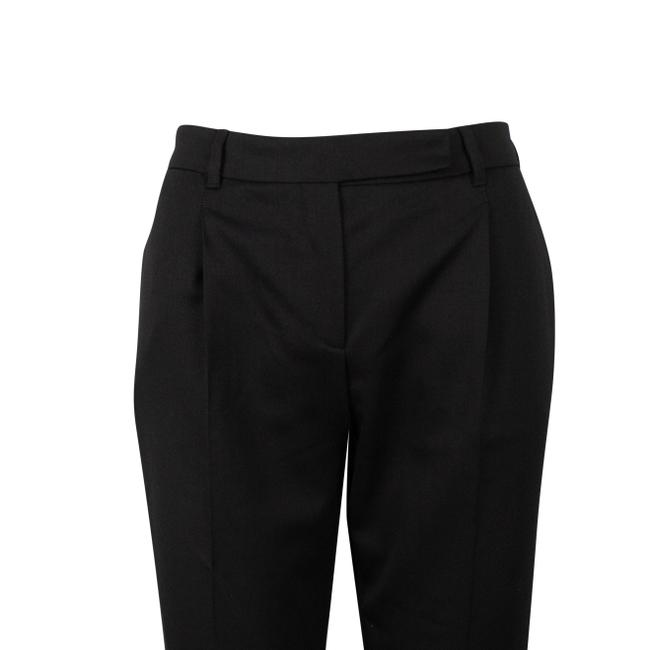 Valentino Wool Pleated Fleece Jetted Pockets Straight Pants Black Image 3