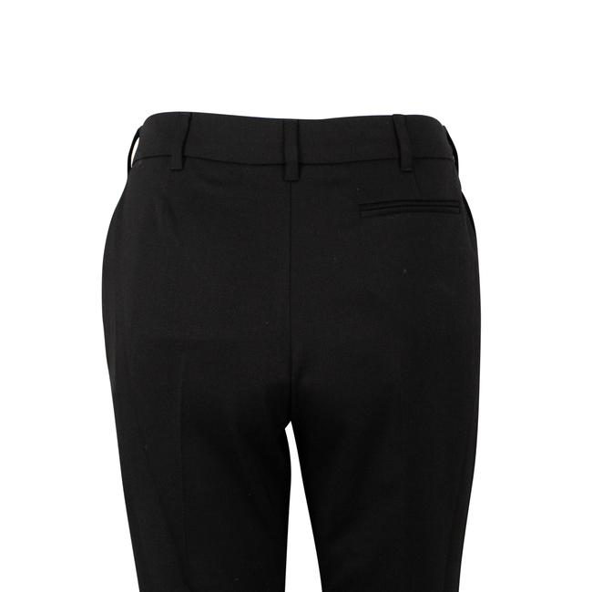 Valentino Wool Pleated Fleece Jetted Pockets Straight Pants Black Image 4