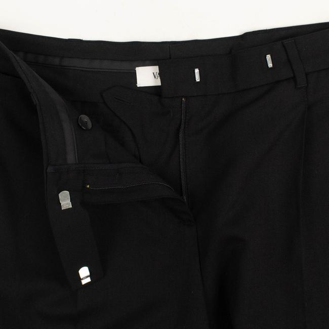Valentino Wool Pleated Fleece Jetted Pockets Straight Pants Black Image 5