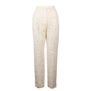 Valentino Pleated Cotton Floral Lace Straight Pants Ivory
