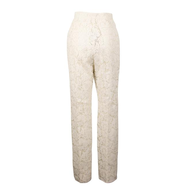 Valentino Pleated Cotton Floral Lace Straight Pants Ivory Image 1