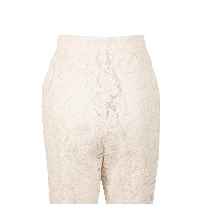 Valentino Pleated Cotton Floral Lace Straight Pants Ivory Image 3