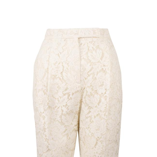 Valentino Pleated Cotton Floral Lace Straight Pants Ivory Image 4