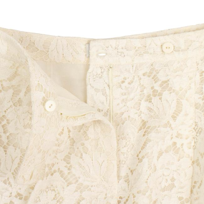 Valentino Pleated Cotton Floral Lace Straight Pants Ivory Image 5