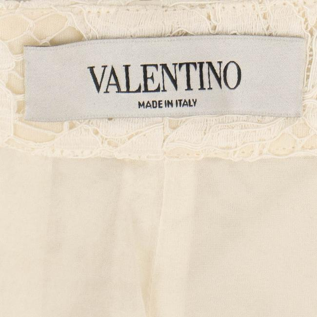 Valentino Pleated Cotton Floral Lace Straight Pants Ivory Image 6