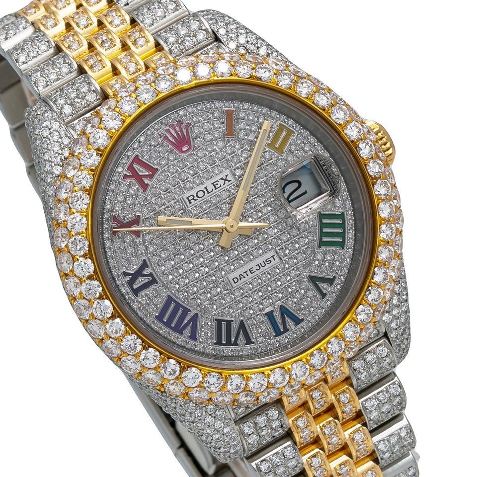 Rolex Rainbow Datejust 126303 41mm Diamond Dial with Two Tone Bracelet Watch