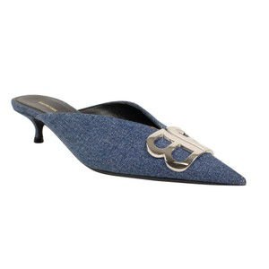 Balenciaga Pointed Toe Kitten Denim Vintage Blue Mules