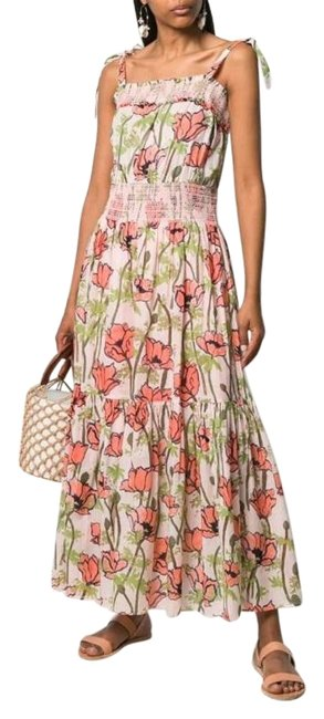 Item - Multicolor Floral-print Smocked Cotton Long Casual Maxi Dress Size 2 (XS)