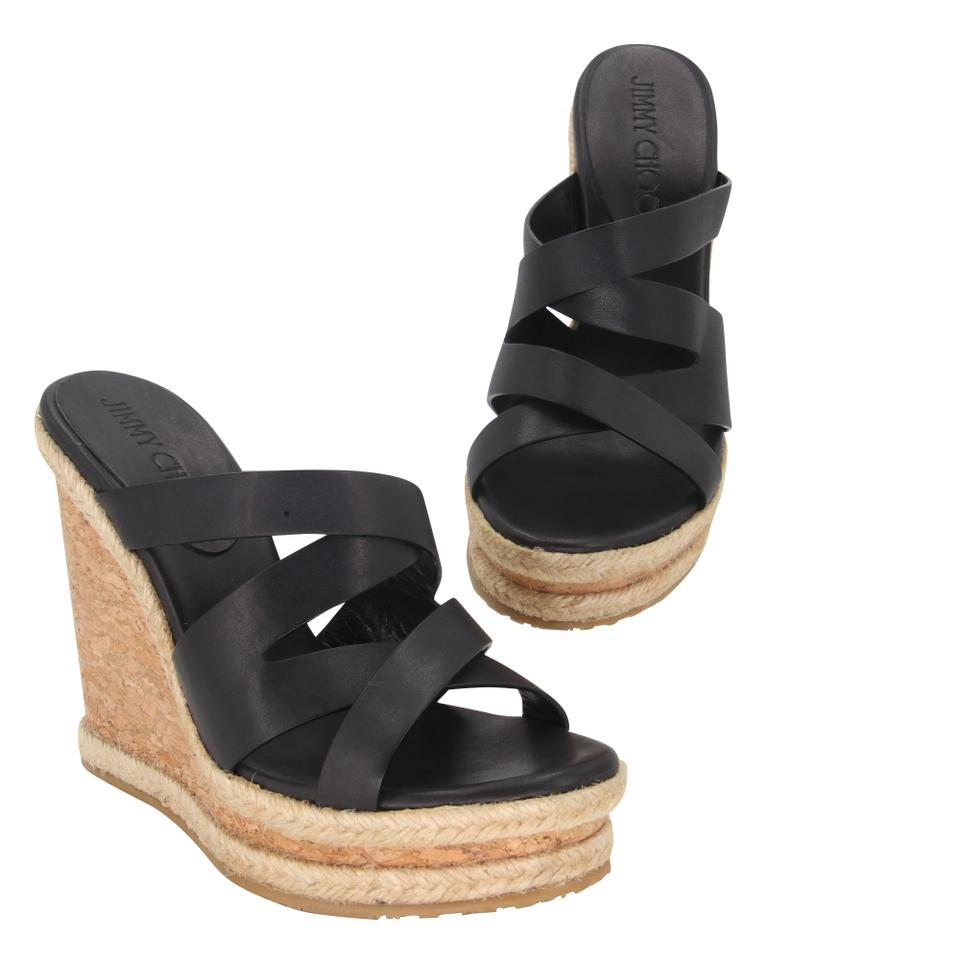 487fb13ea Jimmy Choo Black Almer Leather & Braid Trim Platform Slide Sandals Wedges