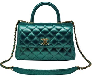 Chanel Coco Handle Top Handle Iridescent Classic Double Flap Satchel in Blue