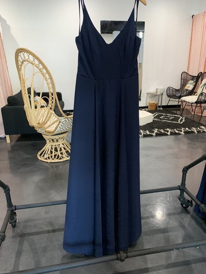 Hayley Paige Indigo Crepe 5815 Traditional Bridesmaid/Mob Dress Size 10 (M) Image 0