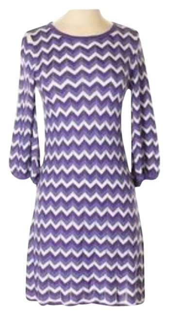 Item - Purple/White W Chevron Pattern W/Balloon Sleeves Short Casual Dress Size 2 (XS)