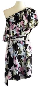 Vince Camuto short dress Black Multi-color One Shoulder Floral Asymmetrical on Tradesy
