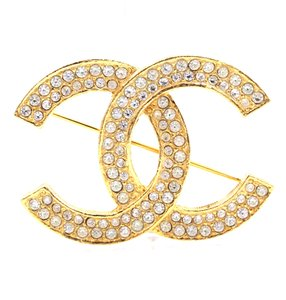 Chanel Timeless CC Smoked Crystals gold hardware brooch pin charm