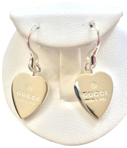 Gucci Brand new Gucci trademark heart Drop sterling silver earrings