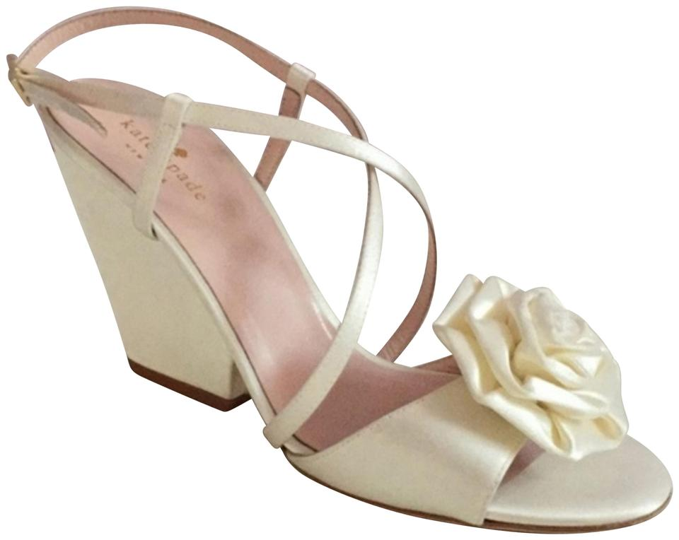 Kate Spade Soft White Satin Imari Rose Detail Bridal Wedding Wedge Peep Toe Sandals Size Us 10 Regular M B 67 Off Retail