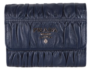 Prada New Prada 1MH840 Nappa Ruched Leather Trifold Wallet W/Coin Pocket