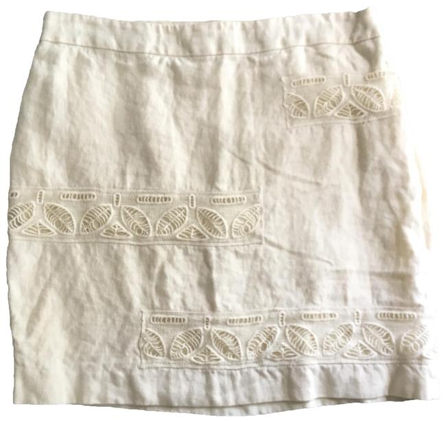 Item - Cream Beige Moulinette Soeurs Bonsai Breeze Ivory Cut Out Linen Skirt Size 12 (L, 32, 33)
