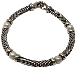 David Yurman Sterling silver 14K gold David Yurman Pearl Metro Cable bracelet