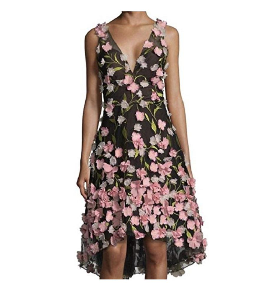 73e55a9f Marchesa Notte Black/Pink/Green High Low Cocktail with 3d Flower Petals  Night Out Dress