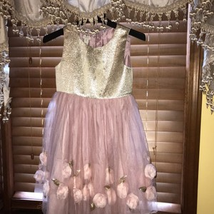 Monsoon Pink/Gold Sequin Flower Appliqué 10 Years Old Casual Bridesmaid/Mob Dress Size OS (one size)