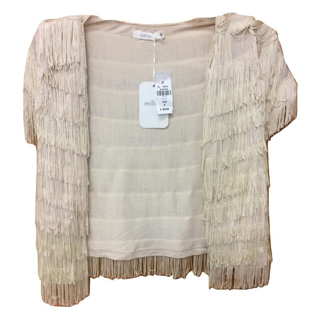 Item - Cream Total Fringe Tiered Jacket Size 4 (S)