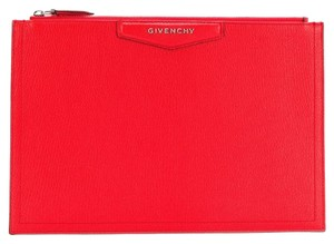 4d3a6dd01c9 Givenchy Leather Rectangular Zippered Made In Italy Logo Patch Red Clutch