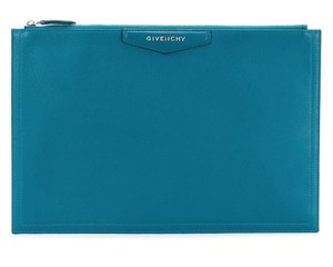 3ded54d83fec7 Givenchy Leather Rectangular Zippered Made In Italy Logo Patch turquoise  blue Clutch